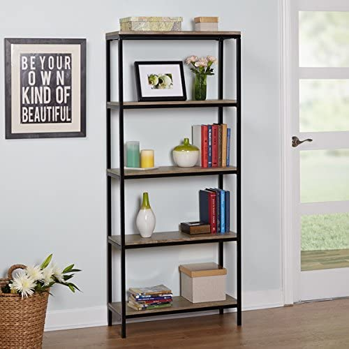 Simple Living Piazza 5-Tier Wood and Metal Bookshelf Features Five Shelve