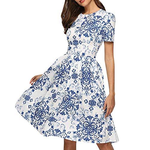 Xinantime Women 3/4 Sleeve Midi Evening Dress Floral Vintage Dress Elegant Party Club Midi Dress (Blue-01, L)