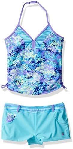 Free Country Big Girls' Petals Tankini with Adj Strap and Short