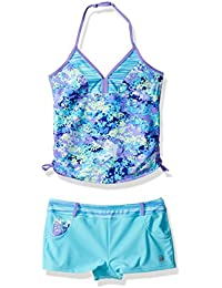 Free Country Big Girls' Petals Tankini with Adj Strap and...