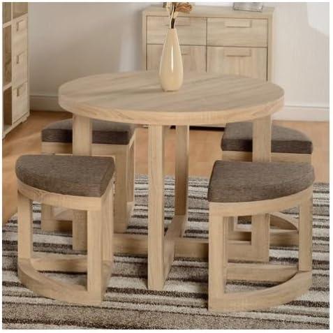 Compacto 5 piezas Juego de comedor de mesa redonda de sillas de muebles de cocina de la sala de efecto de madera de roble: Amazon.es: Hogar