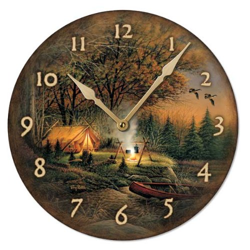 Solitude By Terry - Evening Solitude Round Clock by Terry Redlin