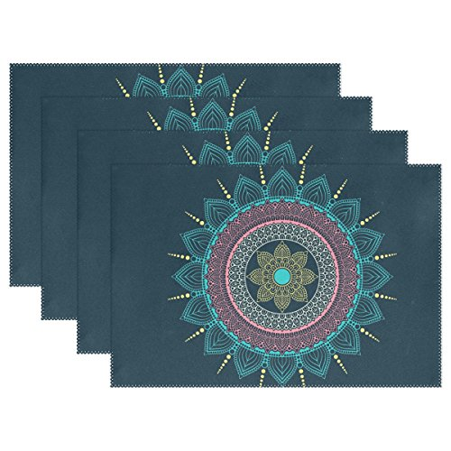 Mandala Bohemian Psychedelic Intricate Non-slip Placemats for Dining Table Kitchen Indoor Outdoor Hotel Table Placemats Heat Resistant Washable Stain-resistant Table Mats Place Mats set of 6 (Easy Halloween Potluck Dishes)