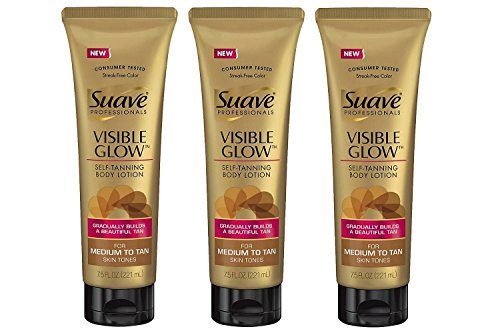 Suave Visible Glow Self Tanning Lotion, Pack of 3