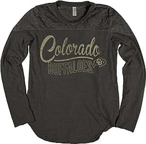 NCAA Colorado Buffaloes Adult Women NCAA Women's Dyed Long Sleeve Yoke Tee,Small,Black
