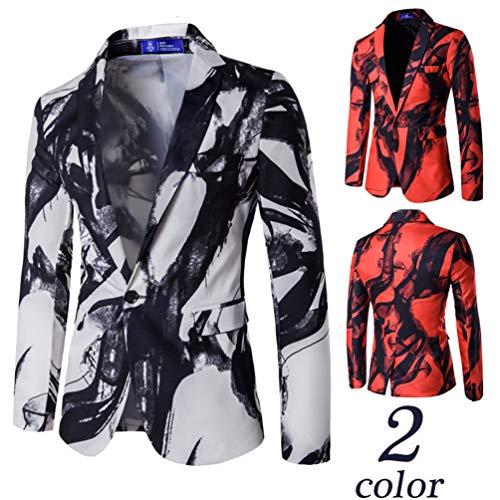 Style Veston Blazer Fit Casual Costume Global Blanc Tt Blouson Slim Veste Homme Un Bouton Imprimé qUXPnwOFx
