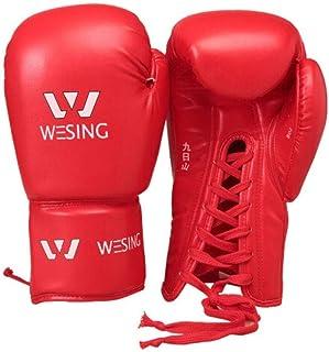 8haowenju Gants de Boxe, Gants Sanda Adultes, Compétition Professionnelle Muay Thai Fight Training Sandbag Tether Gants Corde Gants, Rouge/Bleu/Noir, Haute Qualité Choix du consommateur