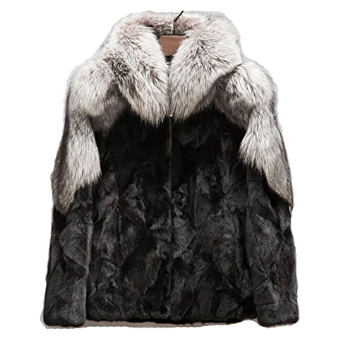 Denny&Dora Men's Fox Fur Coat Mink Fur Coat Only Custom Super Warm (Gray, (Mink Fox Fur Coat)
