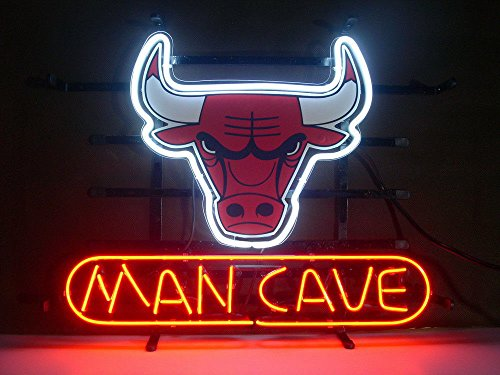 UrbyTM Chicago Bull Man cave Real Glass Neon Light Sign Home Beer Bar Pub Recreation Room Game Room Windows Garage Wall Sign 18''x14'' A17-08