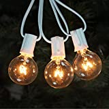 Goothy 25Ft Globe string lights with G40 Bulbs (Plus 2 Extra Bulbs) UL Listed Backyard Patio Lights Garden Party Natural Warm Bulbs Cafe Hanging Umbrella Lights on Light String Indoor Outdoor-White