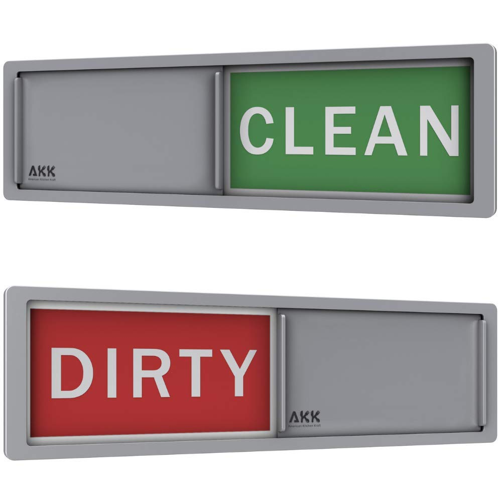 PREMIUM Dishwasher Magnet Clean Dirty Sign SLIDER |Universal & Non-Scratching Clean Dirty Dishwasher Magnet For Any Kind of Dishwasher -3M Adhesives Included With Dishwasher Clean Dirty Sign (Silver)