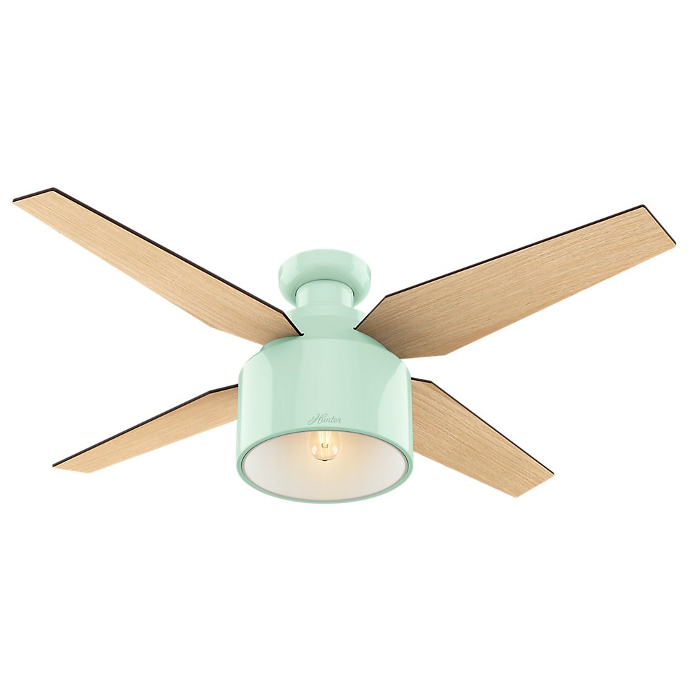 Hunter Indoor Low Profile Ceiling Fan with light and remote control – Cranbrook 52 inch, Mint , 59260