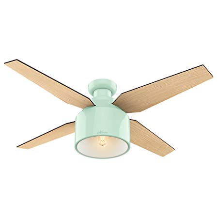Hunter Fan Company 59260 Cranbrook Low Profile Mint Ceiling Fan With Light And Remote, 52 , Bronze Dark