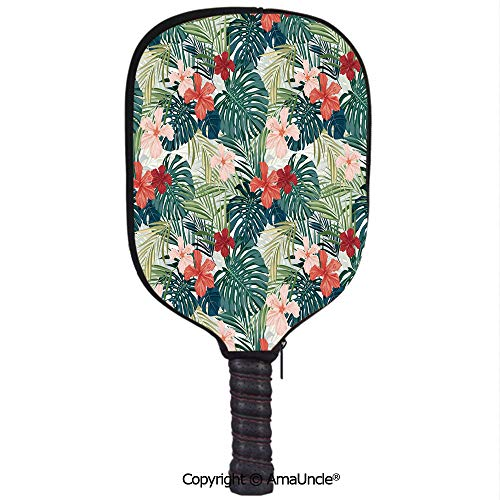 SCOXIXI Neoprene Sports Pickleball Paddle Cover Sleeve,Personalized Summer Beach Holiday Themed Hibiscus Plumeria Crepe Ginger Flowers DecorativeRacquet Cover,Lightweight,Durable and Portable]()