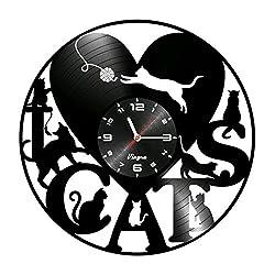 CATS Vinyl Record Clock I Love Cats heart Wall Decor Art Decoration Wall Clock Gifts