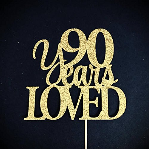 90 Years Loved Cake Topper 90th Anniversary Ninety Birthday