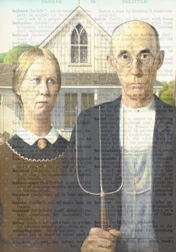 American Gothic Vintage Dictionary Artwork Notebook: 7 x 10 Inch Ruled Notebook/Journal