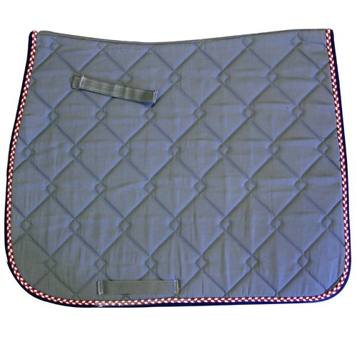 Intrepid International Dressage Saddle Pad, Grey and Maroon/Cream/Navy, Quilted