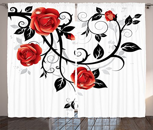 Black and White Curtains Gothic Decor by Ambesonne, Ornate Swirling Branches with Roses Garden Floral Theme Grunge Style