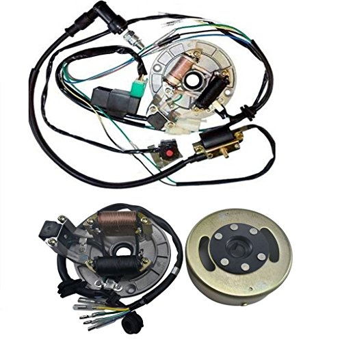 WPHMOTO Wire Harness CDI Ignition Coil Spark Plug Kill Switch Magneto Stator Plate Flywheel Assembly Kit for Kick Start Dirt Pit Bike 50-125cc