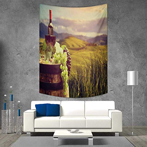 smallbeefly Wine Tapestry Table Cover Bedspread Beach Towel Italy Tuscany Landscape Rural Vineyard Autumn Harvest Grapes Drink Viticulture Dorm Decor 60W x 91L INCH Green Black Brown