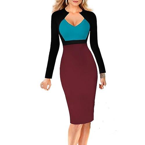 Women's Casual Long Sleeve Patchwork Pencil Mini Dress Plus Size