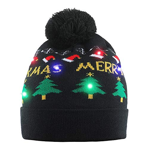 Christmas Hats With Lights (NEARTOP Christmas Tree Light up Flashing Beanie Hat for Christmas)