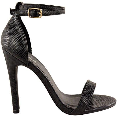 della Lucertola a tacco acciaio in scarpa inox di Similpelle con Peep forma etto a Nero tappete livello con caviglia Da donna 7Hnwqzwv