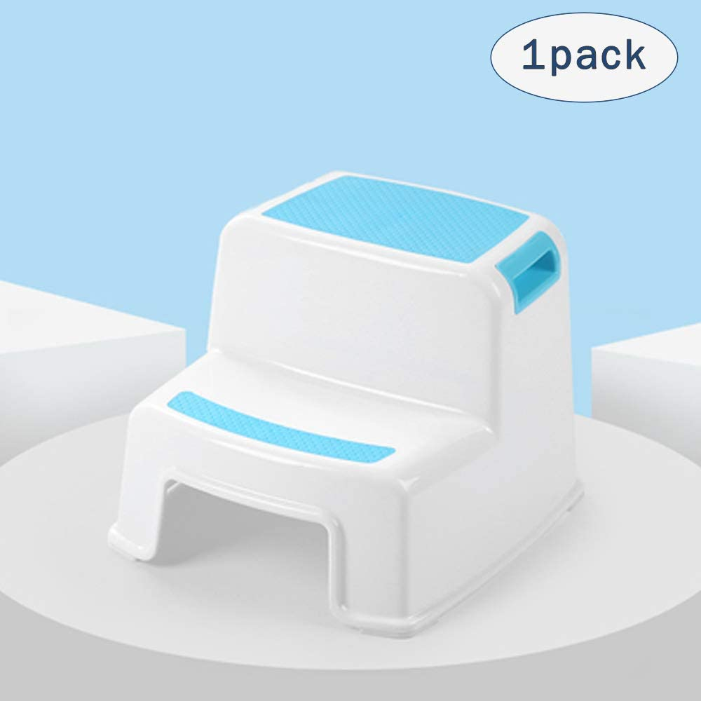 2 Step Stool for Kids(1 Pack, Blue) - Toddler Step Stools for Toilet Potty Training, Bathroom and Kitchen - Slip Resistant Soft Grip for Safety, Stackable 51htUIIr4JL