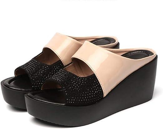 Heels Wedges Open Toe Sandals,Beige