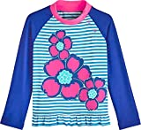 Coolibar UPF 50+ Baby Girls' Ruffle Swim Shirt - Sun Protective (2T- Hawaiian Flowers)