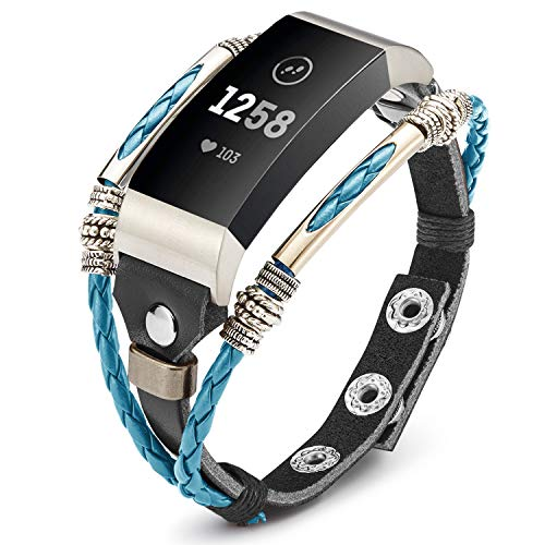 Marval.P Compatible for Fitbit Charge 3 Bands, Handmade Leather Charge 3 SE Band, Replacement Unique Bracelet Strap, Wristbands with Adjustable Size, Fashion Wrist Band Straps for Women Men Lover