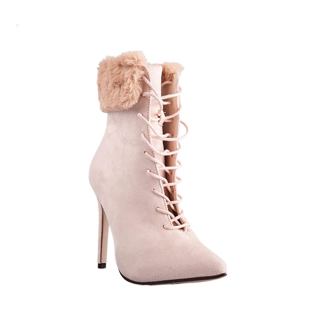 a9910ea581f87 Amazon.com | Women Lace-up Fur Suede Pointed Toe High Heel Ankle ...