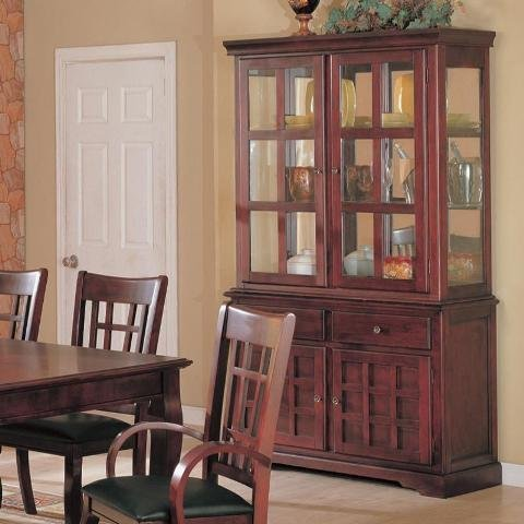 100504 Newhouse Buffet And Hutch China Cabinet In Cherry Finish