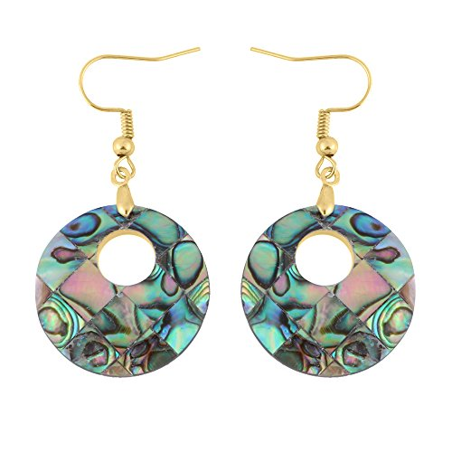 TUSHUO The Round Shape of the Abalone Shell Pendant Earrings, Eardrop (Gold) -