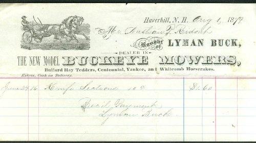 Buckeye Mower - Buckeye Mowers Lyman Buck Haverhill NH invoice 1879 Bullard Whitcomb +