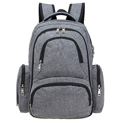 Big Sale - Baby Diaper Bag Smart Organizer Waterproof Travel Diaper Backpack with Changing Pad and Stroller Clips (Grey)
