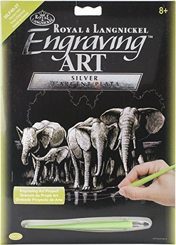 Silver Foil Engraving Art Kit 8''X10''-Elephant Herd by Royal Brush
