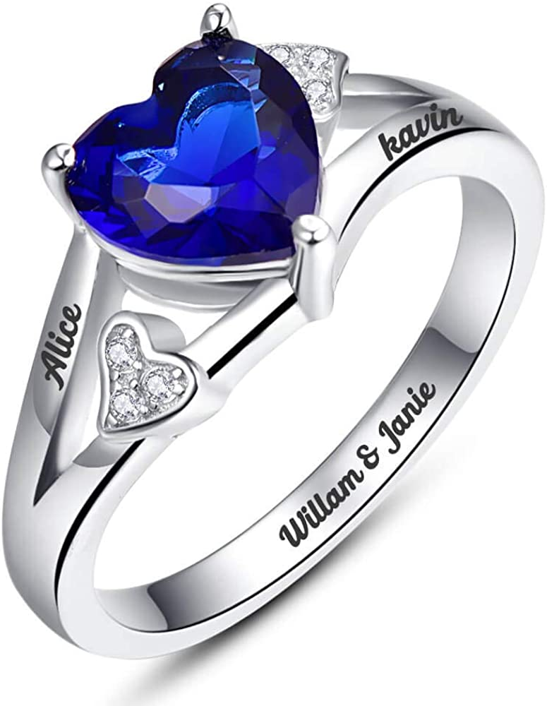 BONLAVIE Heart Rings Sterling Silver Personalized Mother with Simulated Birthstones Custom Engagement Promise Ring Engraved Promise Love Rings for Women Size 5-12