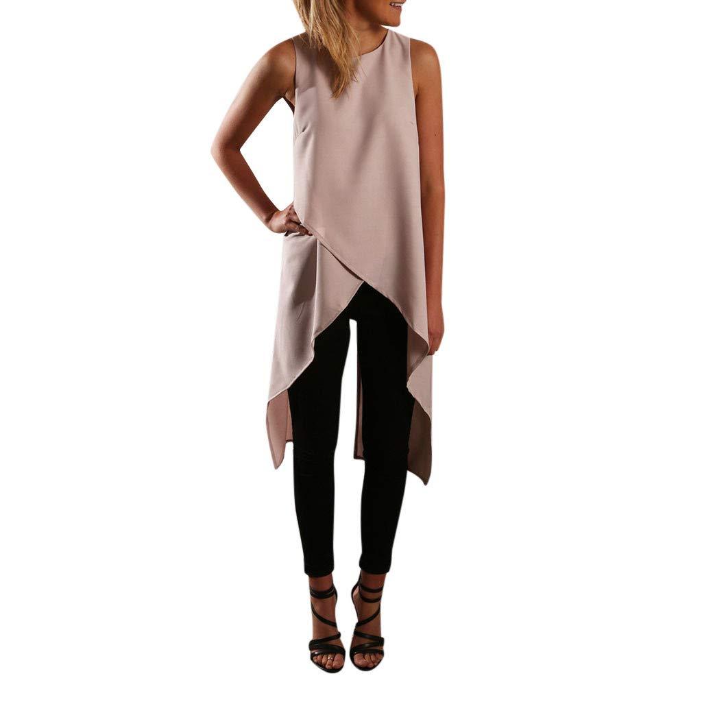 Keliay Cute Womens Tops Summer,Women's Casual Sleeveless Vest Cross Irregular Chiffon Shirt Top Blouse Gray