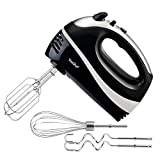VonShef Professional 250 Watt Hand Mixer – Includes - 2x Beaters, 2x Dough Hooks and a Balloon Whisk + 5 Speed With Turbo Button