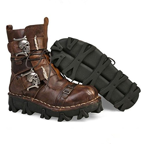 Lorie & Knight Mens Brown Genuine Leather Military Army Boots Gothic Skull Punk Motorcycle Martin Boots, 10