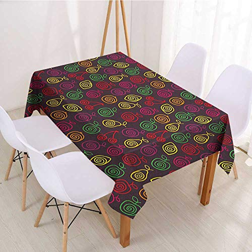 Wendell Joshua Antifouling Rectangular Tablecloth Fruits,Cute Doodle Apples Cherries Pears Spiral Featured Fresh Kitchen Creative Artsy Print,Multicolor,Dinner Kichen Home Decor 52