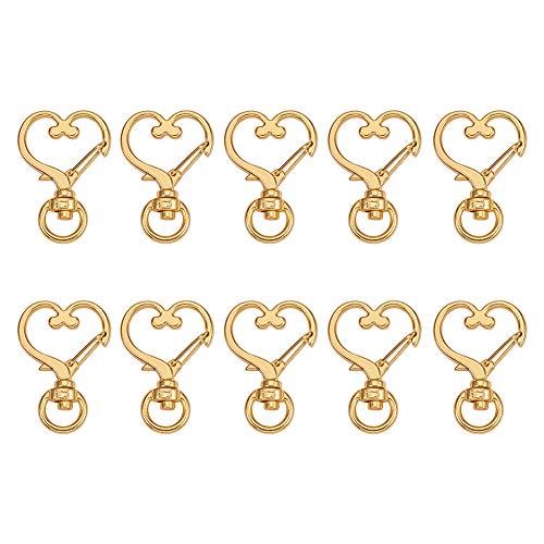 (WANDIC Heart Shape Metal Swivel Lobster Clasp, 50 Pcs Swivel Lanyard Clips Snap Hooks for Crafts Jewelry Making)