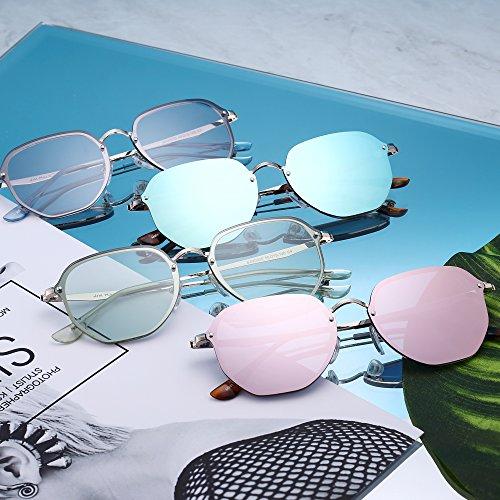 Polígono Hombre Marco Anteojos de Mujer Pequeñas Dorado de Sol Transparente Marrón Claro Espejo Plano Gafas Metal Sin B8fqYOfx