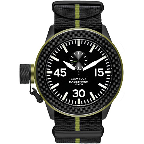 Glam Rock Grt29009f Men's Racetrack Black And Green Nylon Black Dial Watch
