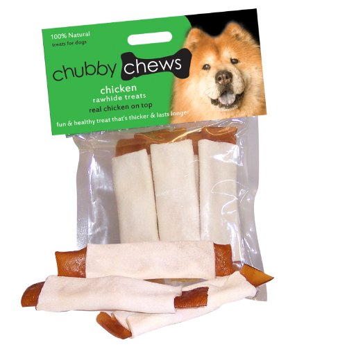 Chubby Chews Premium Rawhide with Real Chicken, 3-Inch Strip, 5-Piece Per Bag, My Pet Supplies