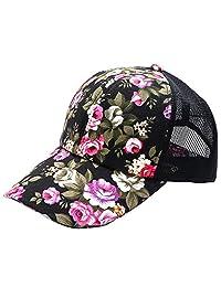 Fashion Floral Style Adjustable Baseball Cap Hip Hop Trucker Snapback Summer Mesh Hat for Women Girls Black