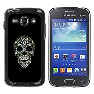 KOKO CASE / Samsung Galaxy Ace 3 GT-S7270 GT-S7275 GT-S7272 / cráneo bling de la naturaleza esqueleto verde plateado / Delgado Negro Plástico caso cubierta Shell Armor Funda Case Cover