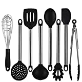 Queen Brands 8 Piece Kitchen Utensil Set - Stainless Steel Metal and Black Silicone Serving Utensils Including Tongs Spoon Spatula Ladle Whisk and Frosting Spatula Professional Nonstick Cookware Safe